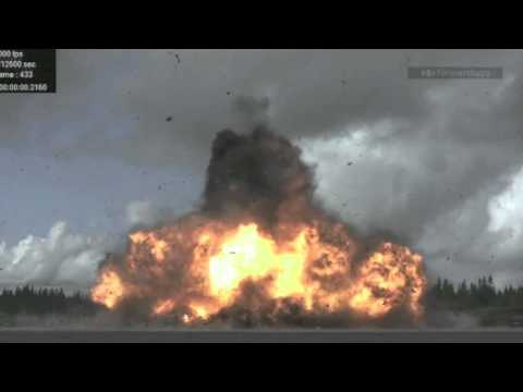 slow motion detonation of 950 kilo bomb