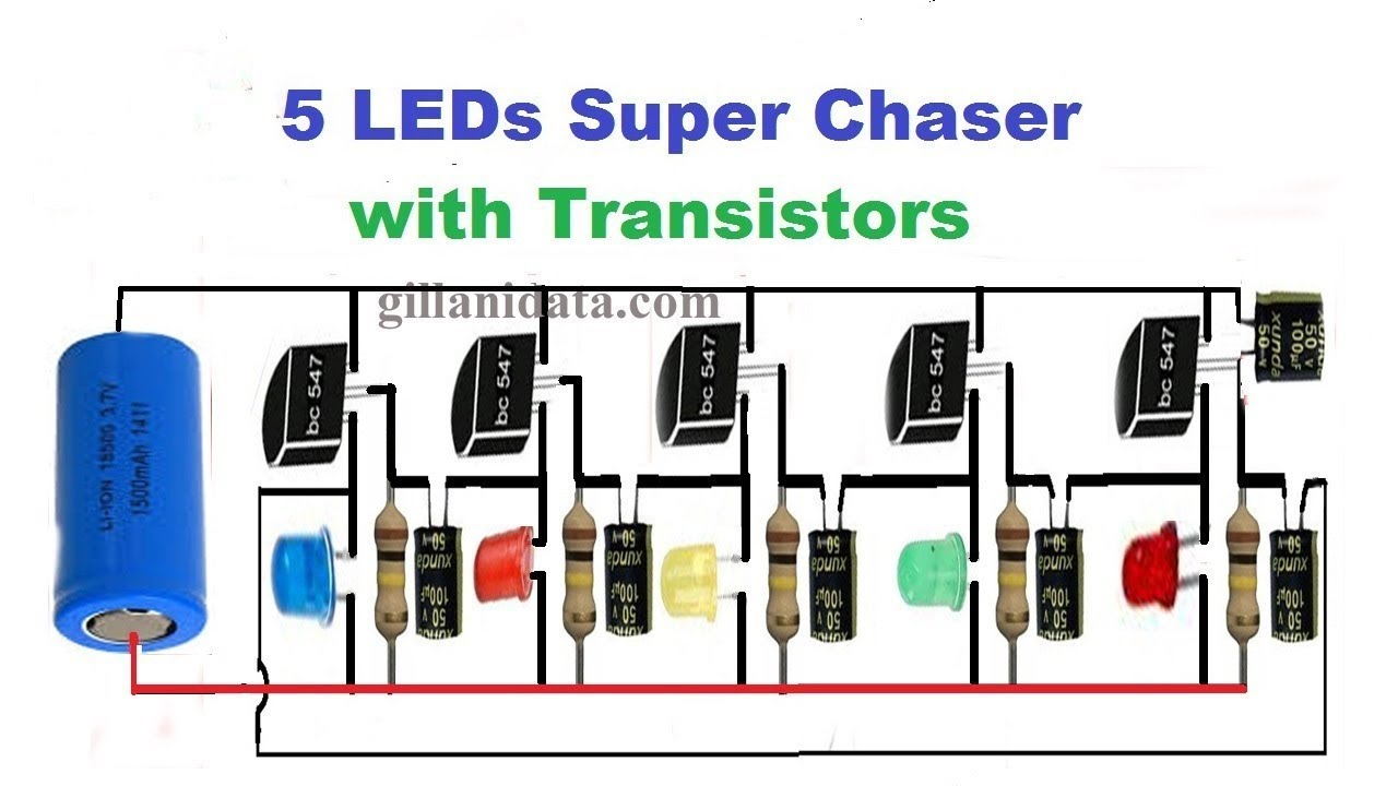 5 led chaser by using transistors Camera Circuit Diagrams