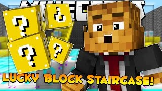 THAT'S A GIANT LUCKY BLOCK Minecraft Lucky Blocks Staircase Mod w/ BajanCanadian