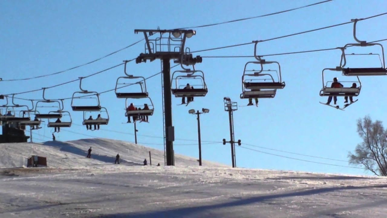 the quad chairlift and skiing at villa olivia ski resort taken on