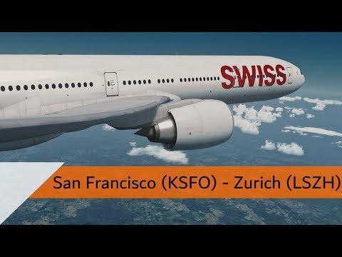 P3D V4.2 Full Flight - Swiss 777-300ER - San Francisco to Zurich (KSFO-LSZH)