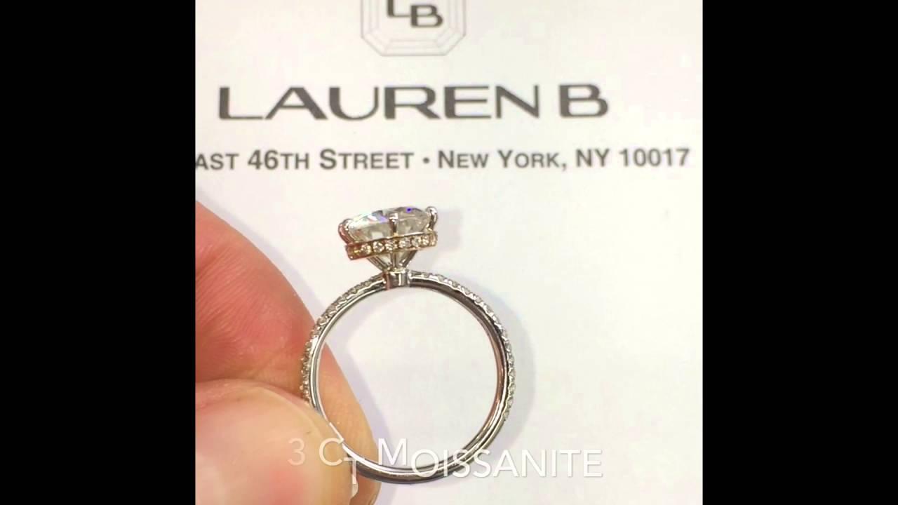 3 Carat Round Moissanite Twotone Engagement Ring Lauren B Jewelry