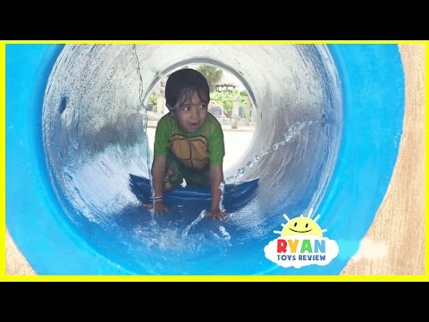Thumbnail: Kid playing at the WaterPark Splash Pad for children! Family Fun playtime in the Pool