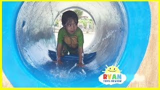 Kid playing at the WaterPark Splash Pad for children! Family Fun playtime in the Pool thumbnail
