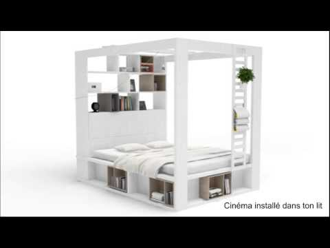 lit a baldaquin bibliotheque 4you 160x200 youtube. Black Bedroom Furniture Sets. Home Design Ideas