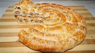 Мясной пирог УЛИТКА из слоеного теста.Мясной пирог.Просто и вкусно.