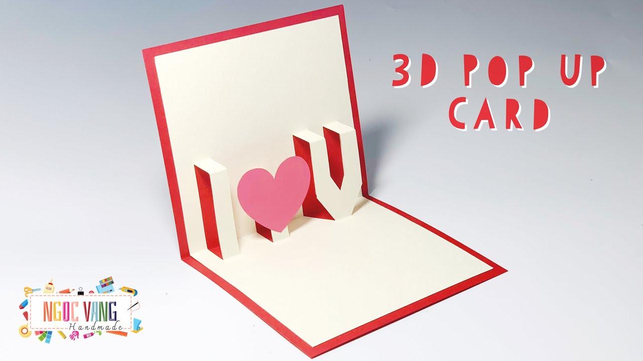 """3d pop up card  thiệp 3d chữ """" i ️ u """" ngoc vang handmade"""