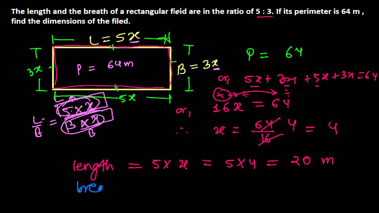 How To Find Length & Breath Of A Rectangle Given In Ratios  Perimeter Word  Problems 10