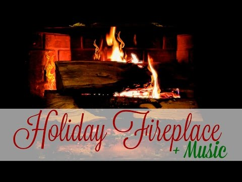 Holiday Fireplace with Music | 1 Hour Loop (FULL HD 1080P)