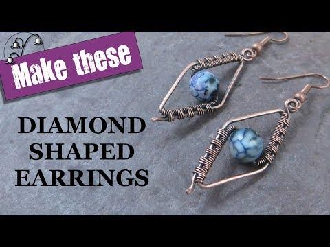 Wire Wrapped Earrings - Diamond Shape