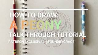 How To Draw: A Peony | Step By Step Tutorial | Patreon Exclusive Sample Video