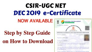 CSIR NET DEC 2019: e-Certificates Now Available | Step by Step guide to Download