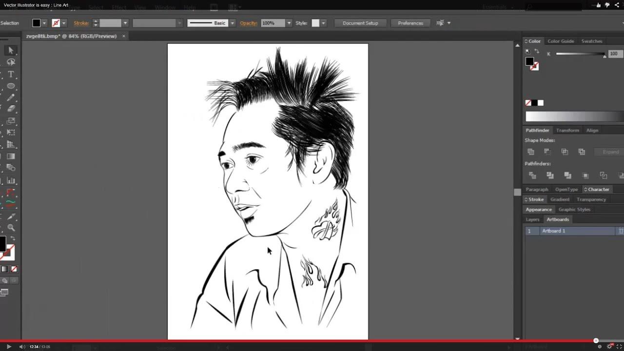 Line Art Vector Illustrator : Vector illustrator is easy line art youtube