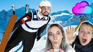 SKI SPRINGEN CHALLENGE - Wer überlebt die KRASSE SKISCHANZE? Nina VS Kaan VS Kathi Ski Jump Spiel