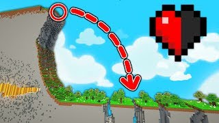 ESSAYER DE SURVIVRE À CETTE CHUTE AVEC 1 DEMI COEUR ! | PARCOURS Minecraft