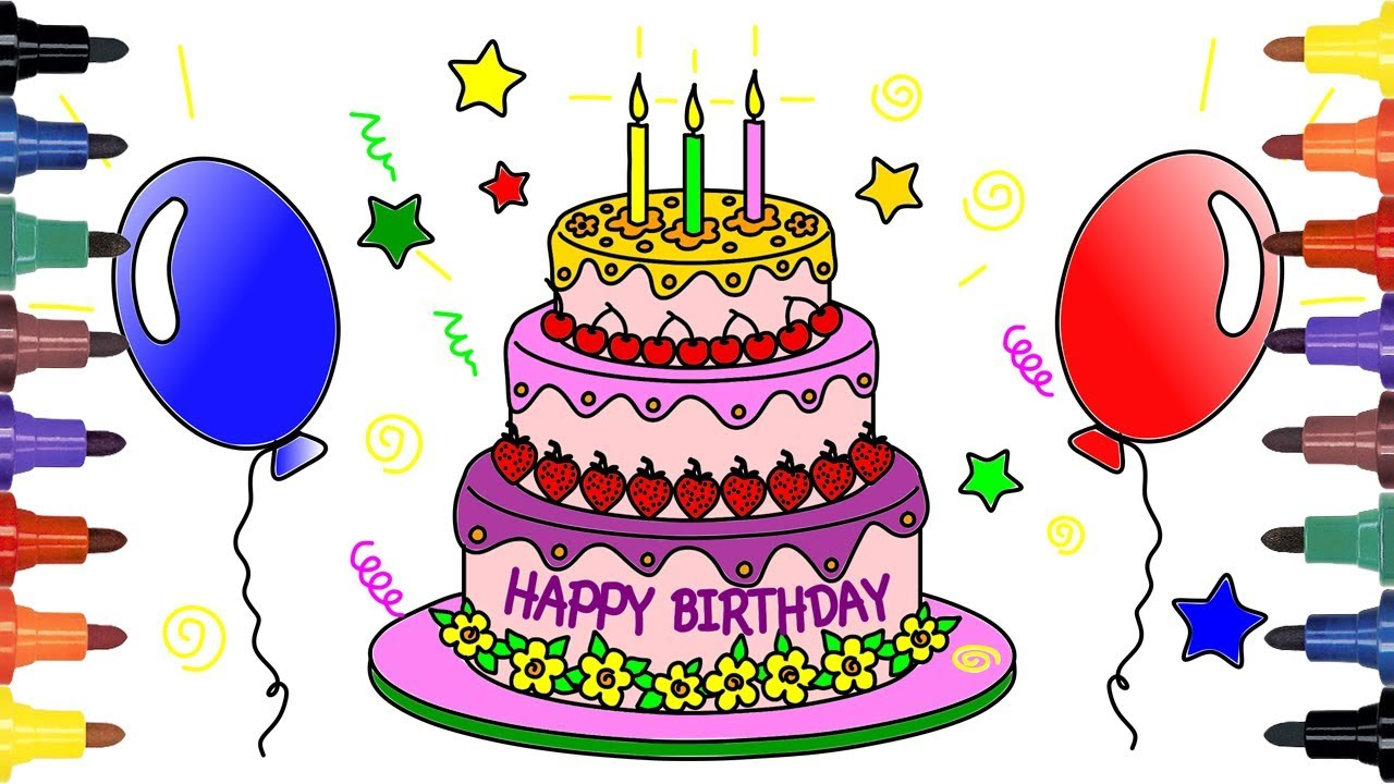 How To Draw Birthday Cake Drawing For Kids Coloring Pages For Kids Youtube