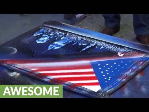 Incredible spray paint street artist creates stunning artwork