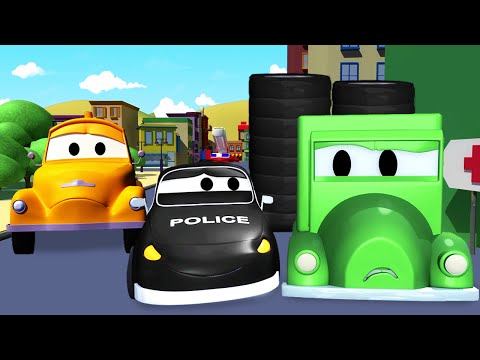 Thumbnail: The Car Patrol: fire truck and police car, and the Wheel Thief in Car City | cartoon for kids