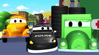the car patrol fire truck and police car and the wheel thief in car city   cartoon for kids