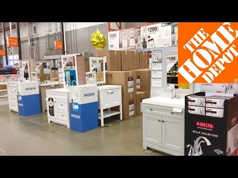 home-depot-vanities-sinks-bathroom-furniture-shop-with-me-shopping-store-walk-through-4k
