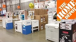 HOME DEPOT VANITIES SINKS BATHROOM FURNITURE SHOP WITH ME SHOPPING STORE WALK THROUGH 4K