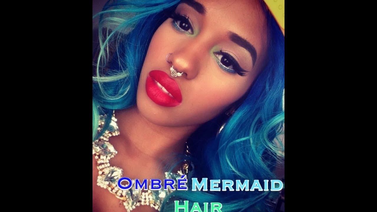 Mermaid ombr weave dark blue to pastel green youtube pmusecretfo Choice Image