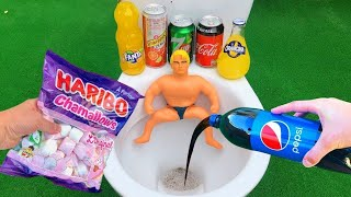 Experiment !! Stretch Armstrong VS Cola, Monster, Fanta, Sprite, Pepsi and Mentos in Toilet