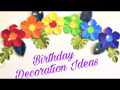 Easy Birthday Decoration ideas for Beginners | Rainbow color paper flower decoration for Birthday