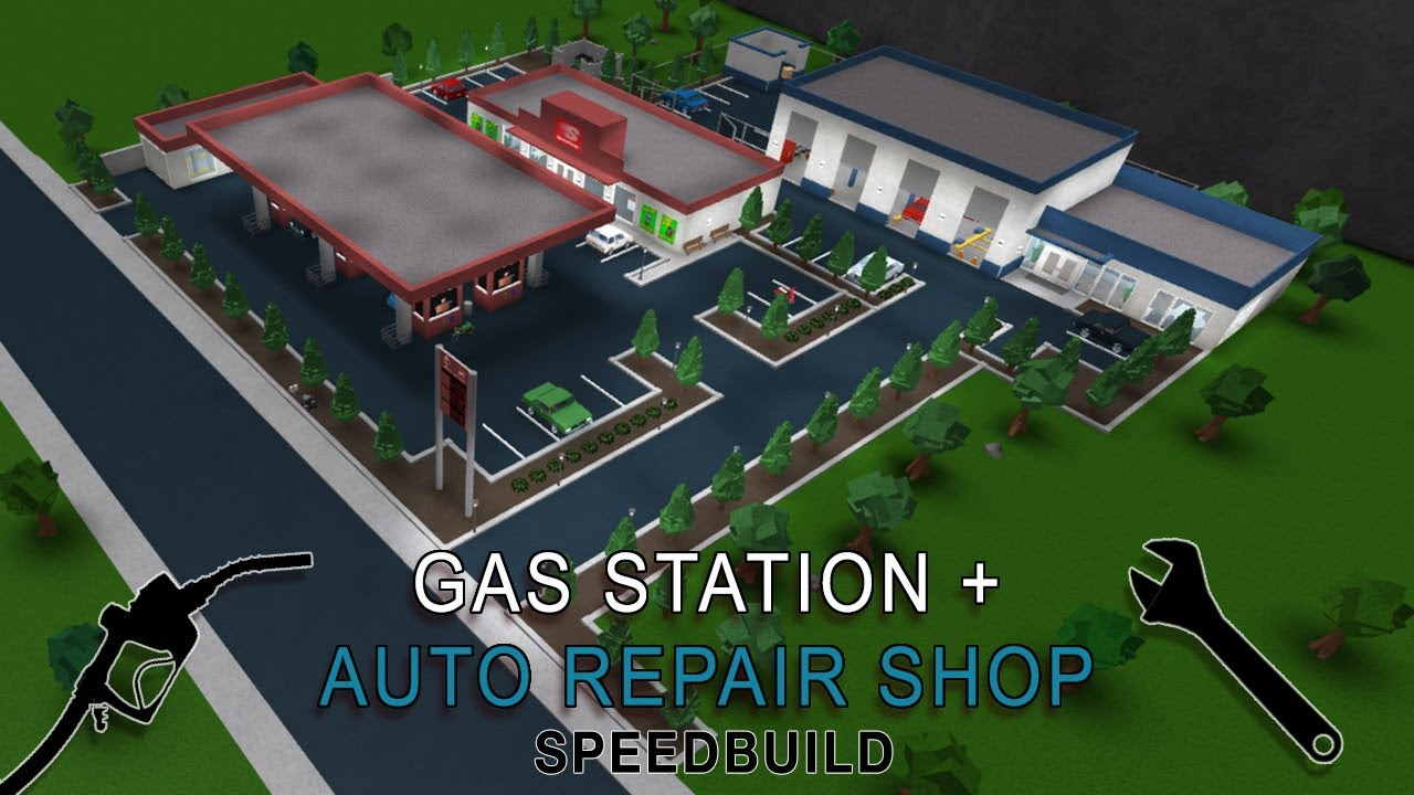 roblox bloxburg gas station auto repair shop speedbuild youtube. Black Bedroom Furniture Sets. Home Design Ideas