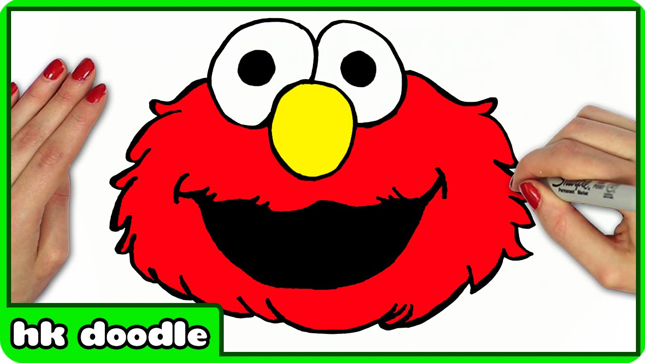 How To Draw Elmo From Sesame Street Easy Step By Step Drawing Tutorial For Kids