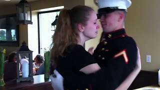 Emotional Marine Surprise Homecoming for little sisters senior week
