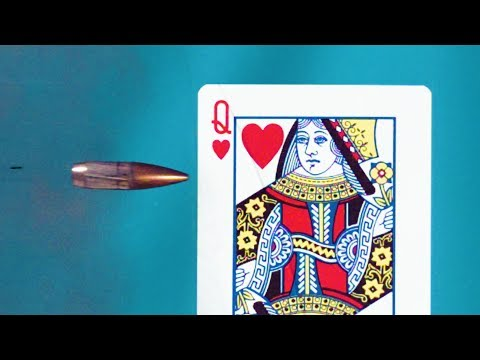 Bullet Splitting Playing Card in SLOW MOTION (The Edgerton Shot) - Smarter Every Day 194