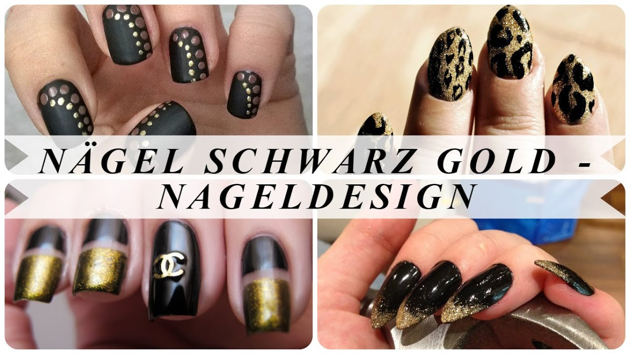 Nägel schwarz gold - nageldesign - YouTube