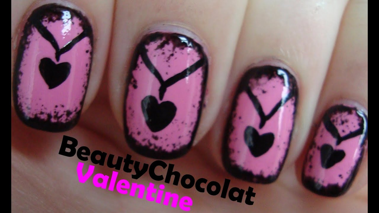 Cute Valentine Nail Art Heart Necklace Nails Youtube