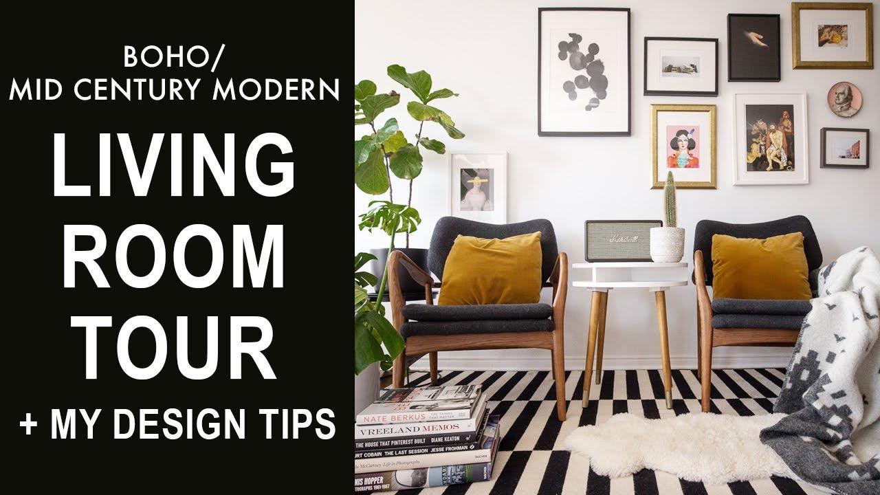 Living Room Tour Mid Century Modern Boho Home Decor Tips Youtube