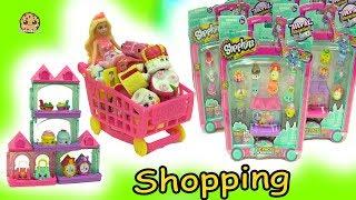 Barbie Fills Up Shopping Cart With World Vacation Shopkins Season 8 At Small Mart thumbnail