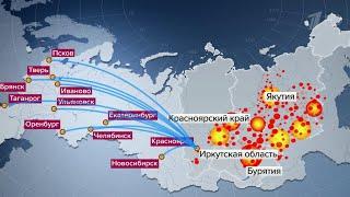Самолеты Ил-76 вылетели на тушение пожаров в Красноярском крае.