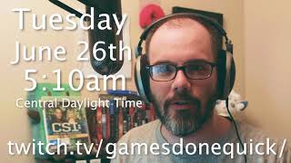 Dan Will Be Presenting Live At Summer Games Done Quick On June 26th