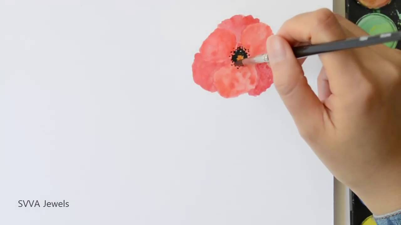 How to paint poppy flower in watercolor youtube how to paint poppy flower in watercolor mightylinksfo