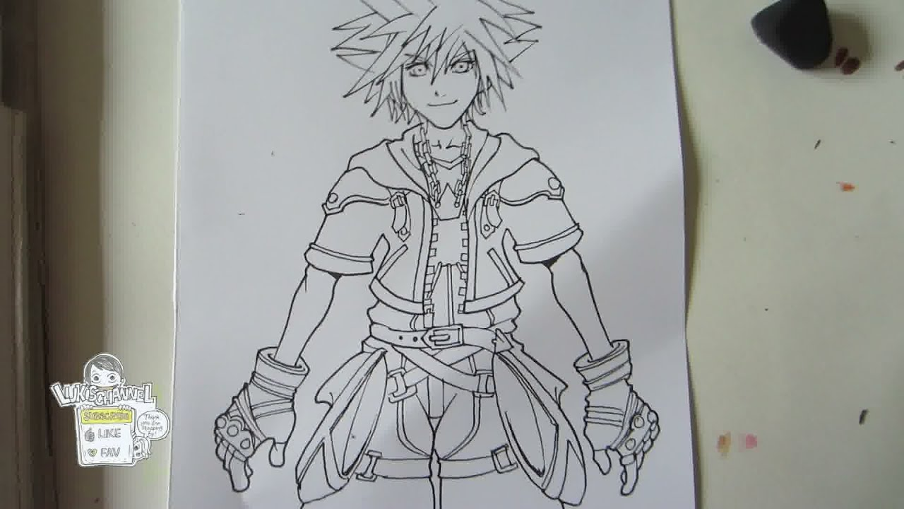 How To Draw Sora From Kingdom Hearts 2 Part 1 Drawing Inking ソラ