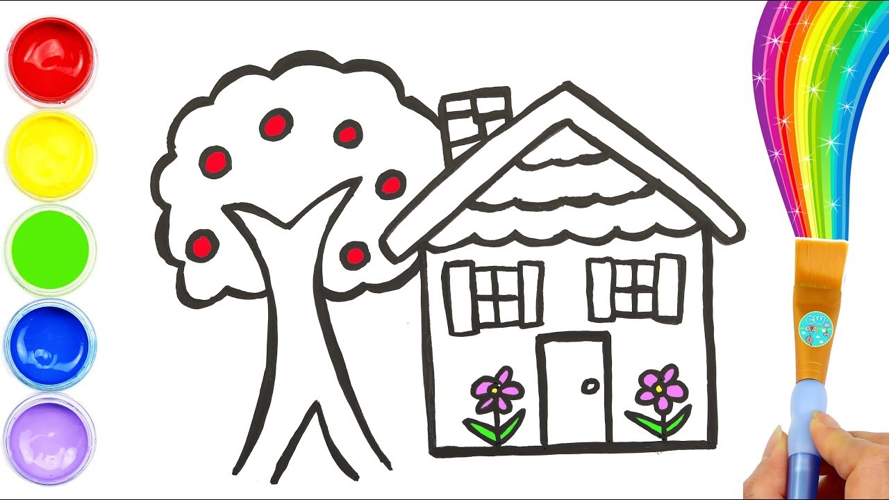House And Apple Tree Coloring Page For Kids Drawing For Toddlers