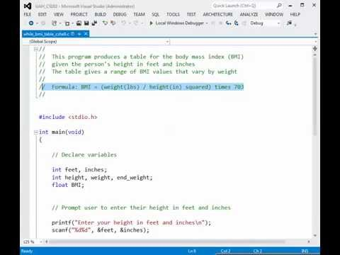 BMI Calculation with While Loop - YouTube