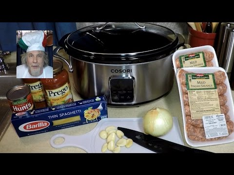 cosori-slow-cooker-spaghetti-sausage-one-pot-meal