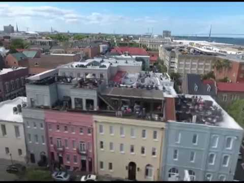 Drone footage of Charleston SC waterfront park, Party Scene!