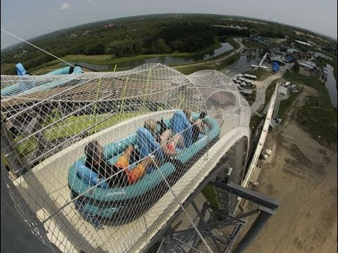 guy attempts tallest water slide..