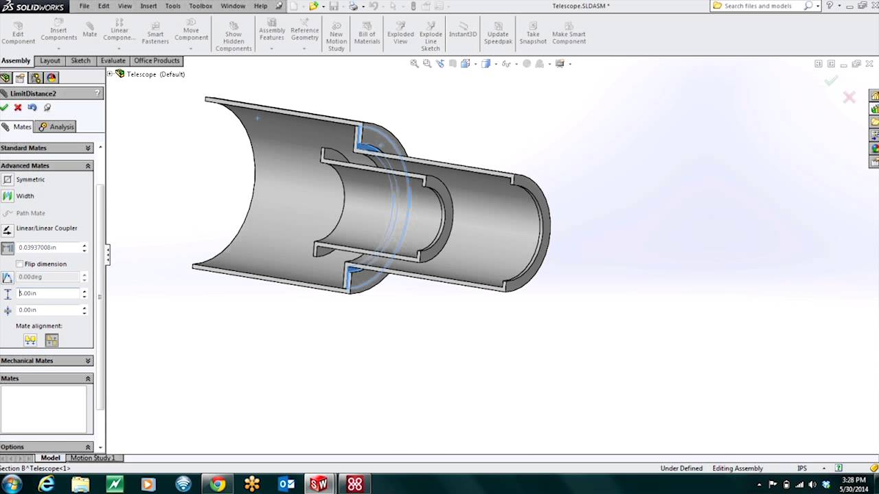 SOLIDWORKS - Advanced Mates: Telescoping Assembly