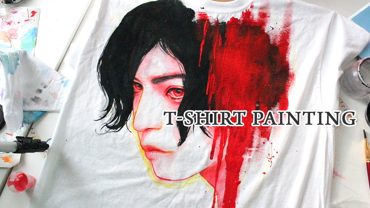 T shirt painting portrait youtube for How to paint on t shirt