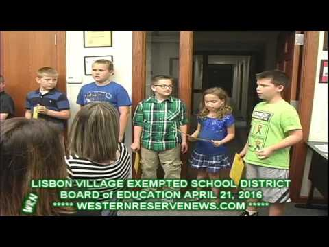 Lisbon Ohio Village Exempted School District School Board of Education April 21,2016