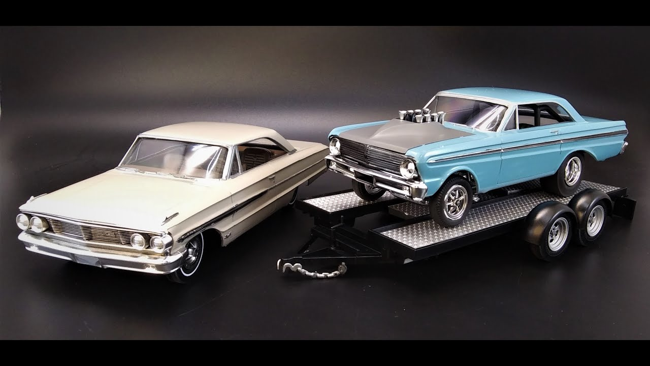 1964 FORD GALAXIE 427 AWB FALCON CAL DRAG COMBO w/TRAILER 1/25 SCALE MODEL KIT REVIEW AMT1223 AMT