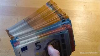 Counting Stack of NEW EURO banknotes